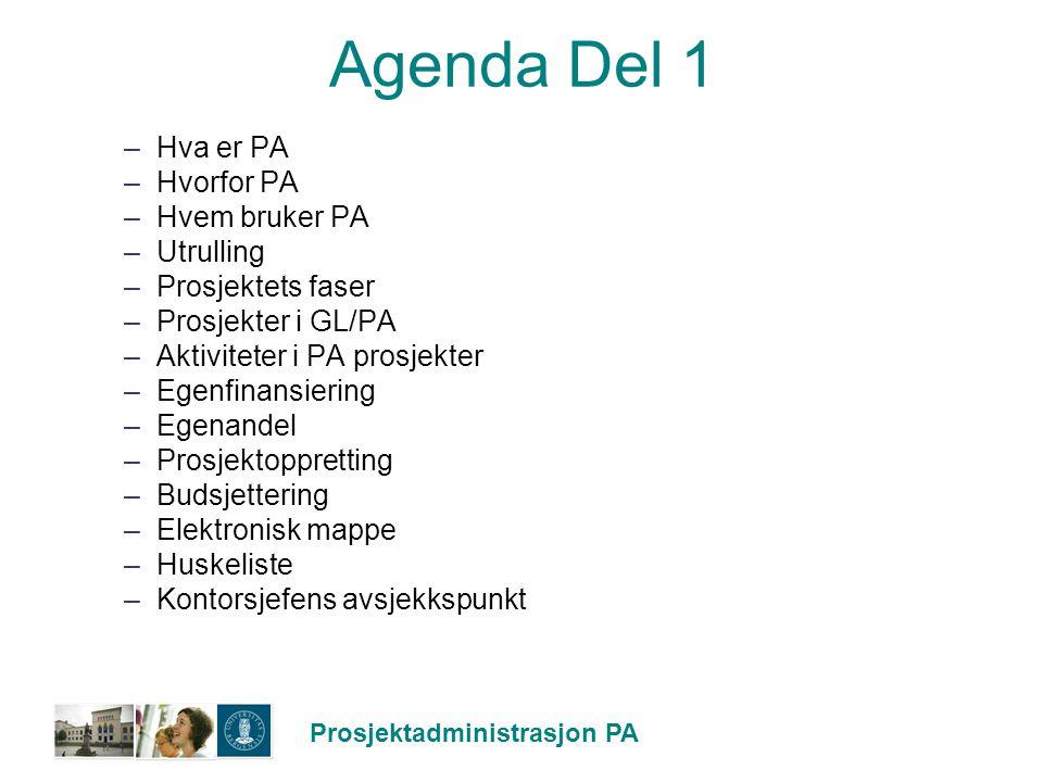 Prosjektadministrasjon PA Agenda Del 1 –Hva er PA –Hvorfor PA –Hvem bruker PA –Utrulling –Prosjektets faser –Prosjekter i GL/PA –Aktiviteter i PA pros