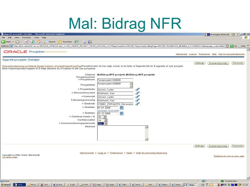 Prosjektadministrasjon PA Mal: Bidrag NFR