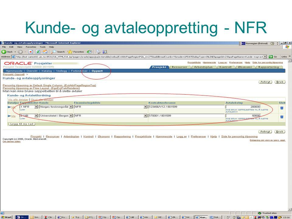 Prosjektadministrasjon PA Kunde- og avtaleoppretting - NFR