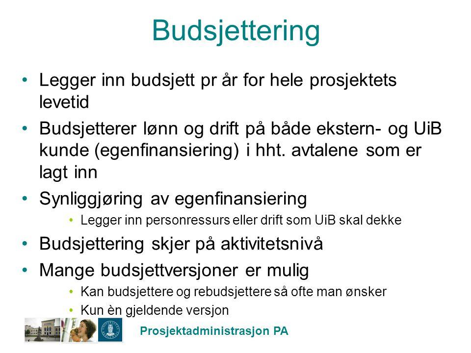 Prosjektadministrasjon PA Budsjettering Legger inn budsjett pr år for hele prosjektets levetid Budsjetterer lønn og drift på både ekstern- og UiB kund
