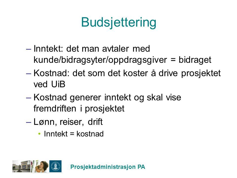 Prosjektadministrasjon PA Budsjettering –Inntekt: det man avtaler med kunde/bidragsyter/oppdragsgiver = bidraget –Kostnad: det som det koster å drive
