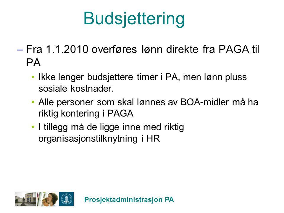 Prosjektadministrasjon PA Budsjettering –Fra 1.1.2010 overføres lønn direkte fra PAGA til PA Ikke lenger budsjettere timer i PA, men lønn pluss sosial