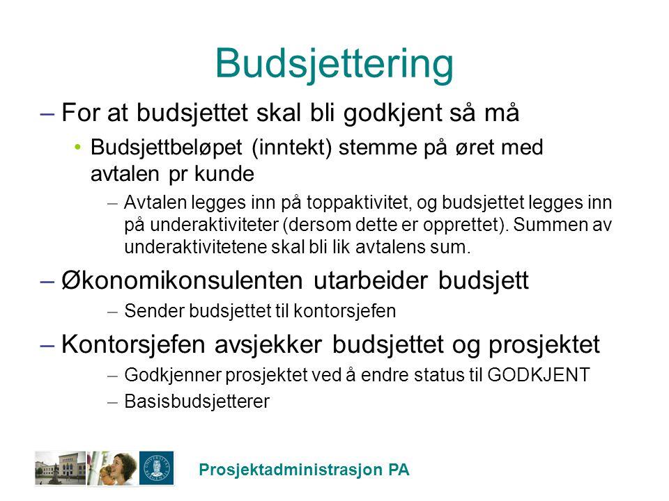 Prosjektadministrasjon PA Budsjettering –For at budsjettet skal bli godkjent så må Budsjettbeløpet (inntekt) stemme på øret med avtalen pr kunde –Avta