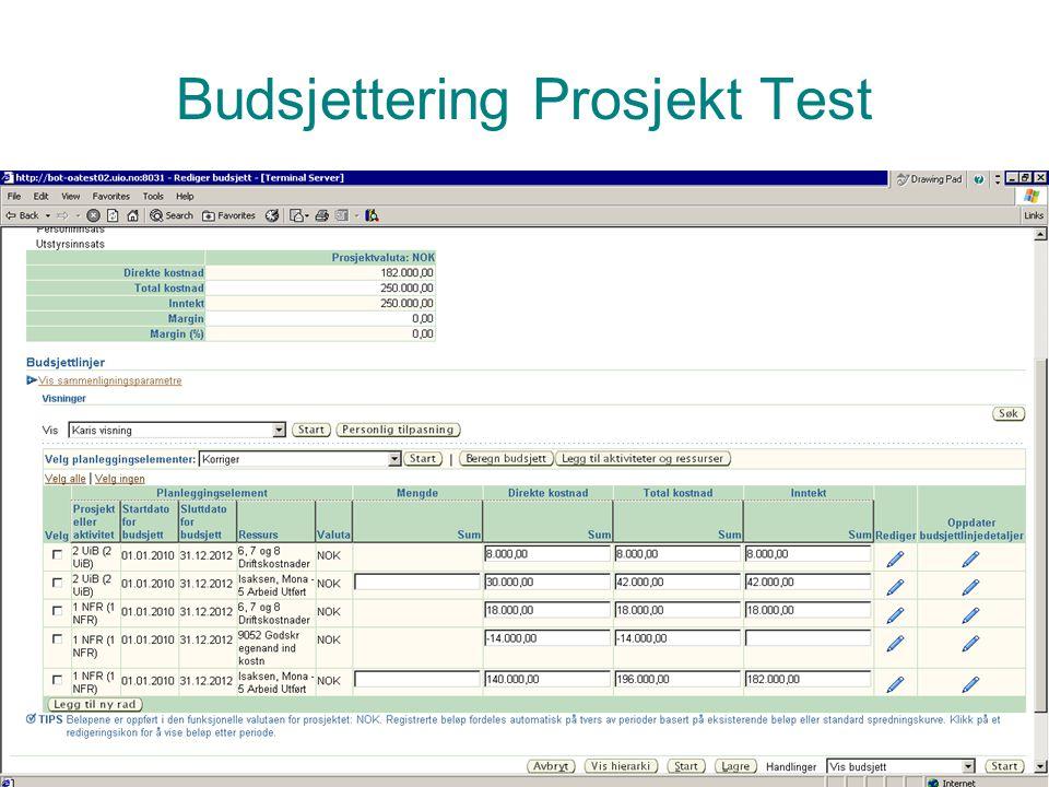 Prosjektadministrasjon PA Budsjettering Prosjekt Test