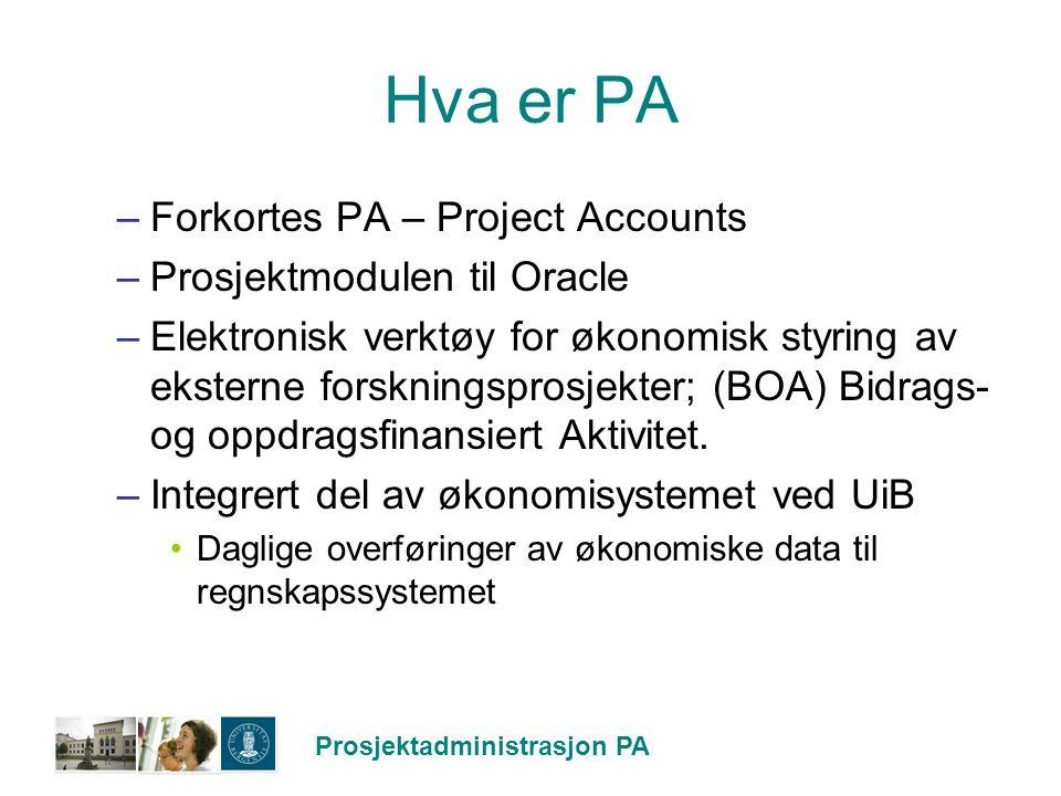 Prosjektadministrasjon PA Hva er PA –Forkortes PA – Project Accounts –Prosjektmodulen til Oracle –Elektronisk verktøy for økonomisk styring av ekstern