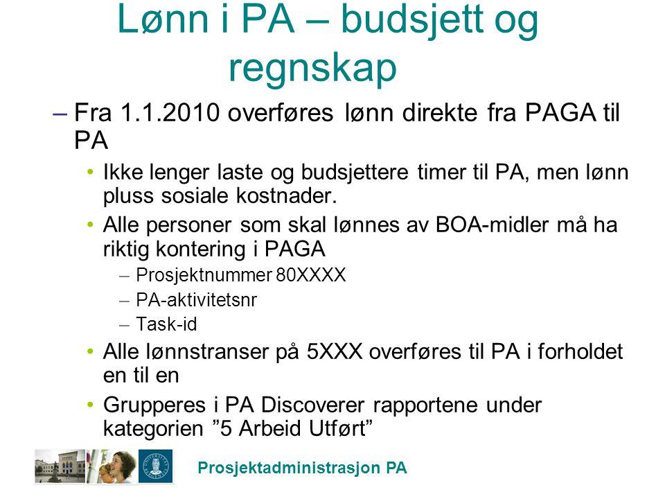 Prosjektadministrasjon PA Lønn i PA – budsjett og regnskap –Fra 1.1.2010 overføres lønn direkte fra PAGA til PA Ikke lenger laste og budsjettere timer