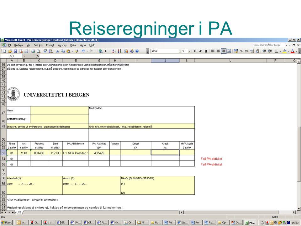 Prosjektadministrasjon PA Reiseregninger i PA