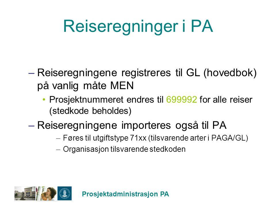 Prosjektadministrasjon PA Reiseregninger i PA –Reiseregningene registreres til GL (hovedbok) på vanlig måte MEN Prosjektnummeret endres til 699992 for