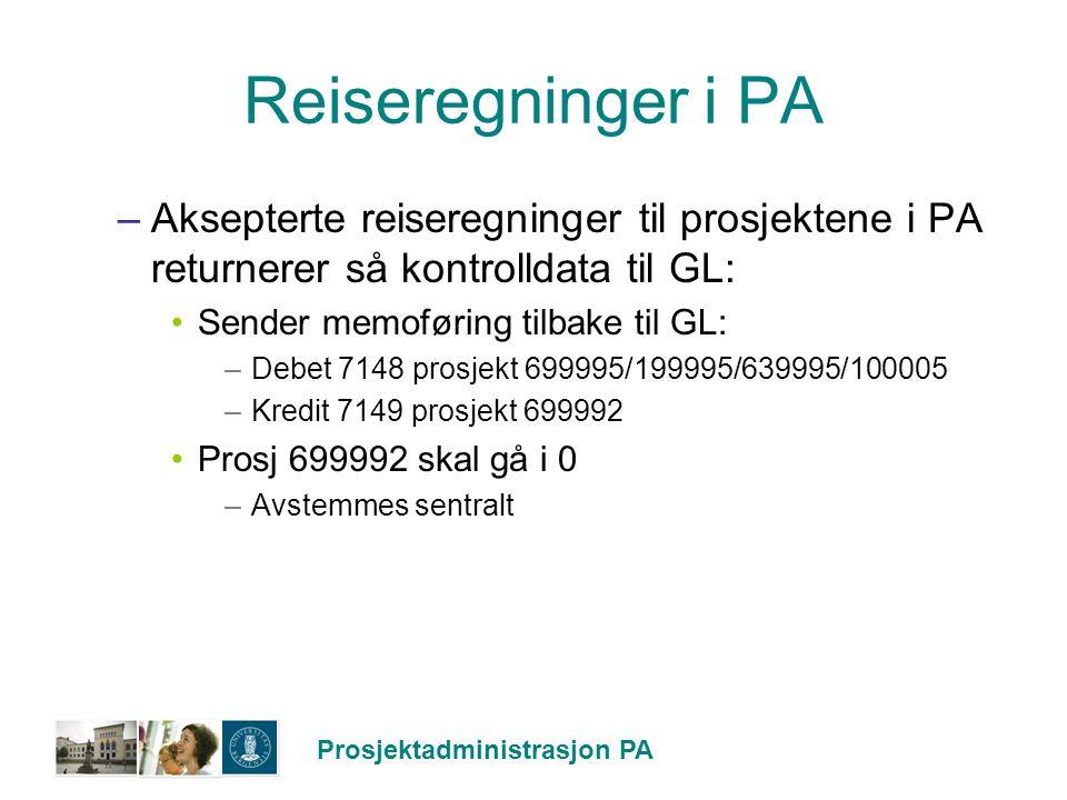 Prosjektadministrasjon PA Reiseregninger i PA –Aksepterte reiseregninger til prosjektene i PA returnerer så kontrolldata til GL: Sender memoføring til