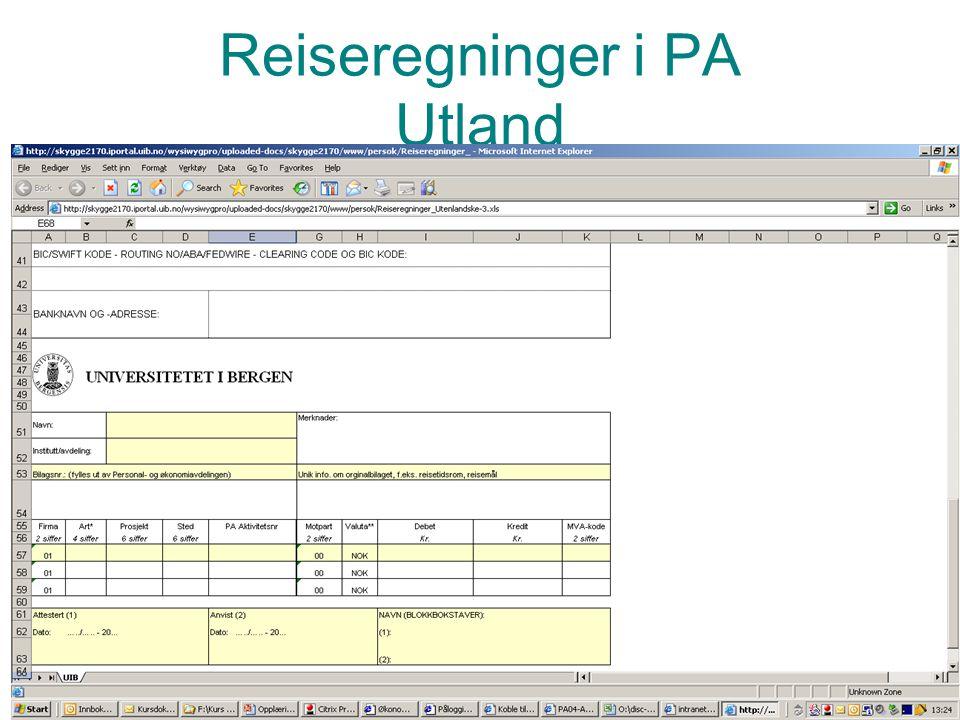 Prosjektadministrasjon PA Reiseregninger i PA Utland PA Anvisningsskjema LIME INN EKSEMPEL