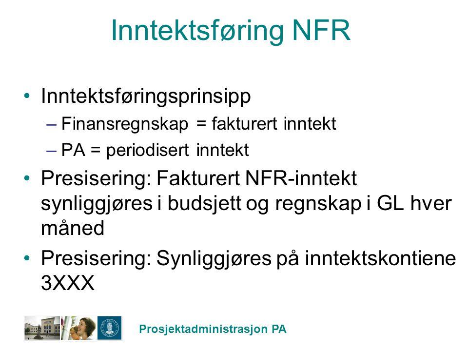 Prosjektadministrasjon PA Inntektsføring NFR Inntektsføringsprinsipp –Finansregnskap = fakturert inntekt –PA = periodisert inntekt Presisering: Faktur