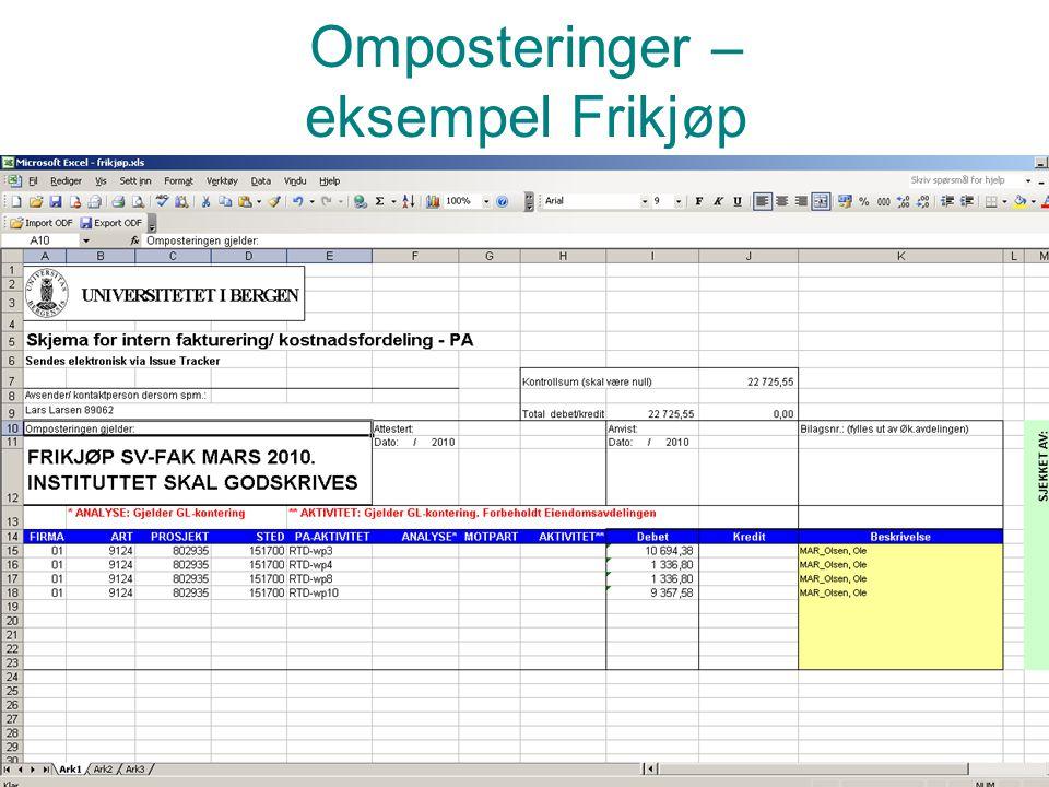 Prosjektadministrasjon PA Omposteringer – eksempel Frikjøp