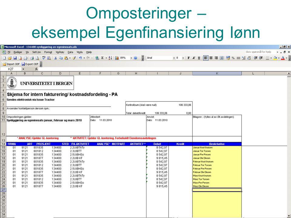 Prosjektadministrasjon PA Omposteringer – eksempel Egenfinansiering lønn