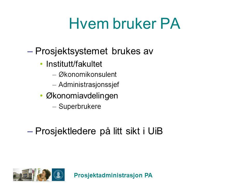 Prosjektadministrasjon PA Utrulling –Status: Implementert i Unifob AS 2005 Psykologisk fakultet 2006 Piloter i 2008 Hele UiB fra 2009 –Unntatt Administrative avdelinger og Museer