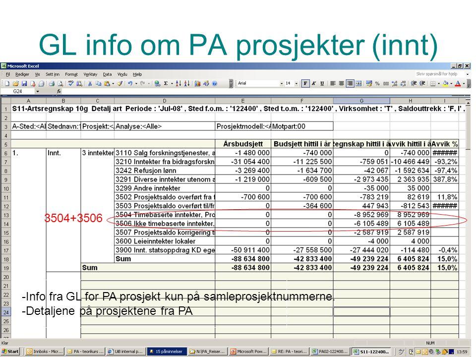 Prosjektadministrasjon PA GL info om PA prosjekter (innt) øøøøø Her kommer en rapport med litt større skrift. Kan ikke lese lenger så mye ut fra GL. K