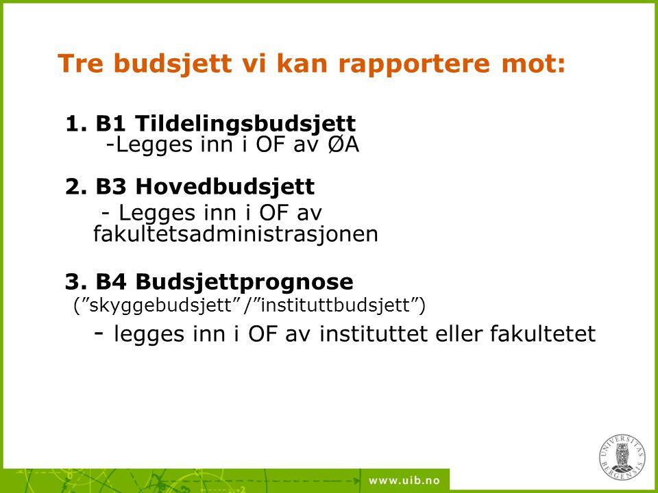 Tre budsjett vi kan rapportere mot: 1. B1 Tildelingsbudsjett -Legges inn i OF av ØA 2. B3 Hovedbudsjett - Legges inn i OF av fakultetsadministrasjonen