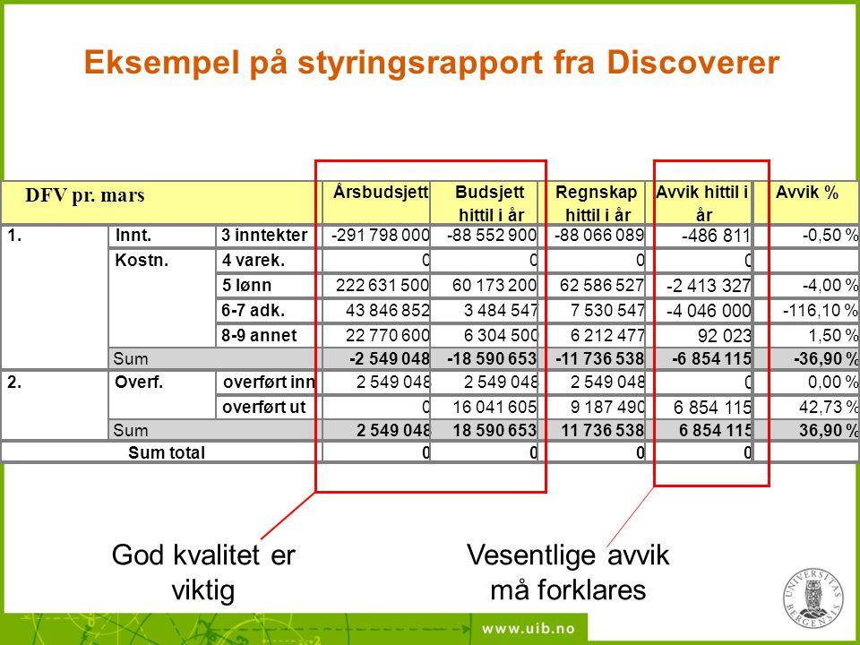 Eksempel på styringsrapport fra Discoverer Vesentlige avvik må forklares God kvalitet er viktig