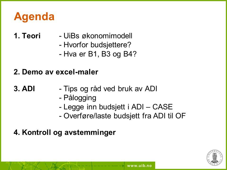 Agenda 1. Teori - UiBs økonomimodell - Hvorfor budsjettere? - Hva er B1, B3 og B4? 2. Demo av excel-maler 3. ADI - Tips og råd ved bruk av ADI - Pålog