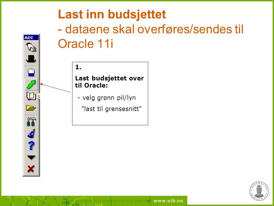 """Last inn budsjettet - dataene skal overføres/sendes til Oracle 11i 1. Last budsjettet over til Oracle: - velg grønn pil/lyn """"last til grensesnitt"""""""