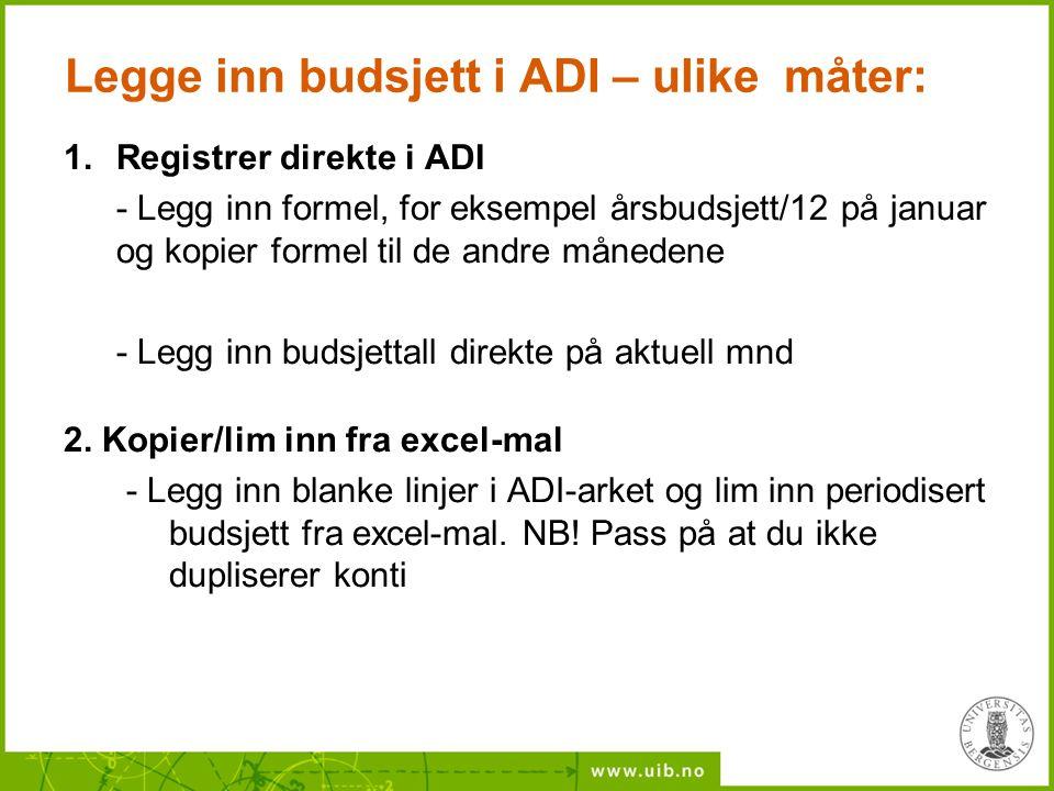 Legge inn budsjett i ADI – ulike måter: 1.Registrer direkte i ADI - Legg inn formel, for eksempel årsbudsjett/12 på januar og kopier formel til de and