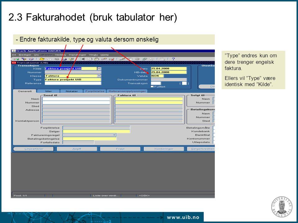 "2.3 Fakturahodet (bruk tabulator her) ""Type"" endres kun om dere trenger engelsk faktura. Ellers vil ""Type"" være identisk med ""Kilde"". - Endre fakturak"