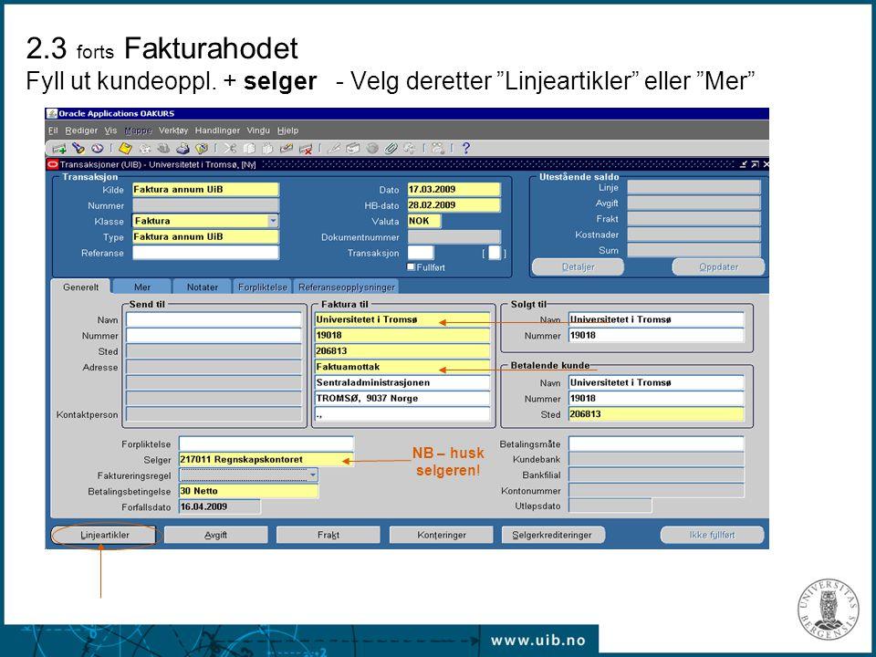 """2.3 forts Fakturahodet Fyll ut kundeoppl. + selger - Velg deretter """"Linjeartikler"""" eller """"Mer"""" NB – husk selgeren!"""