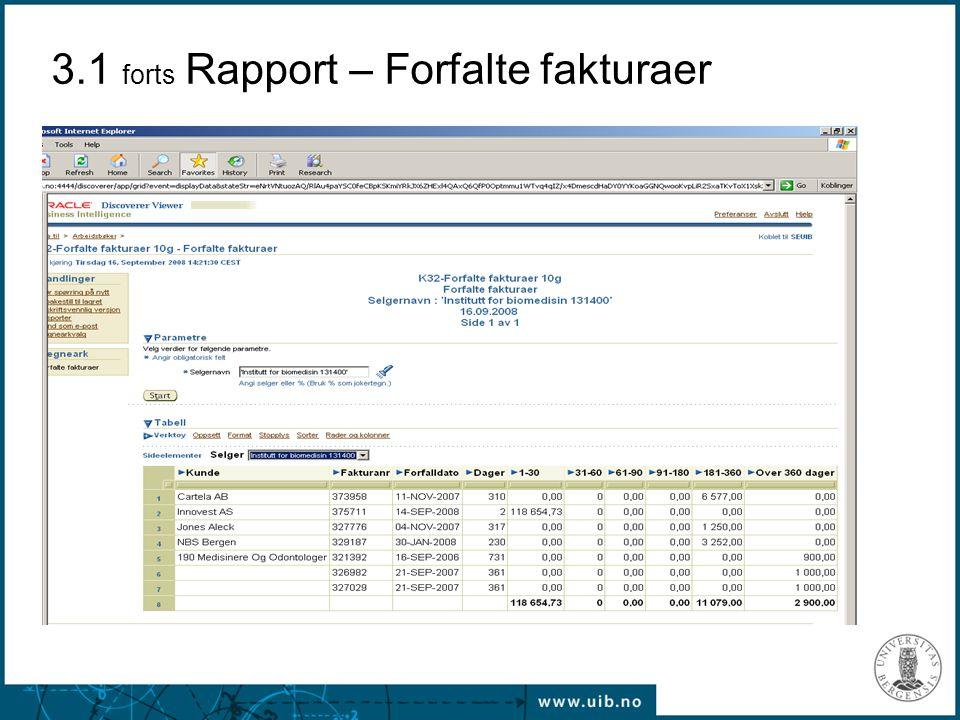 3.1 forts Rapport – Forfalte fakturaer