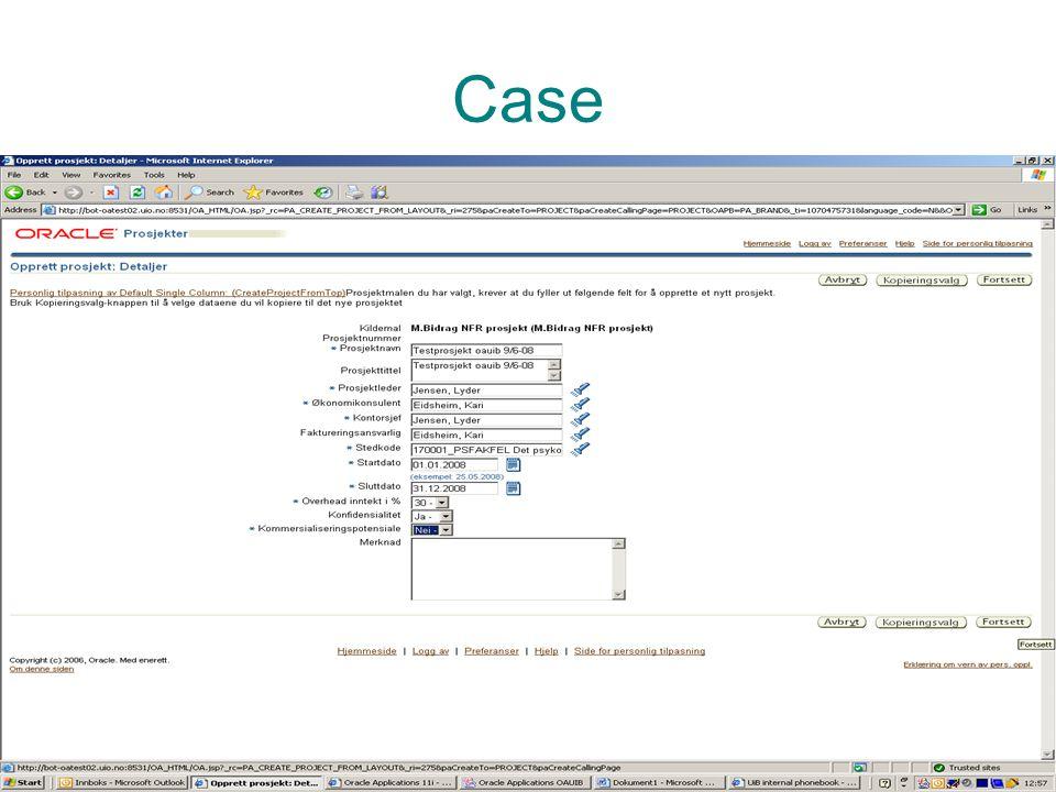 Prosjektadministrasjon PA Case