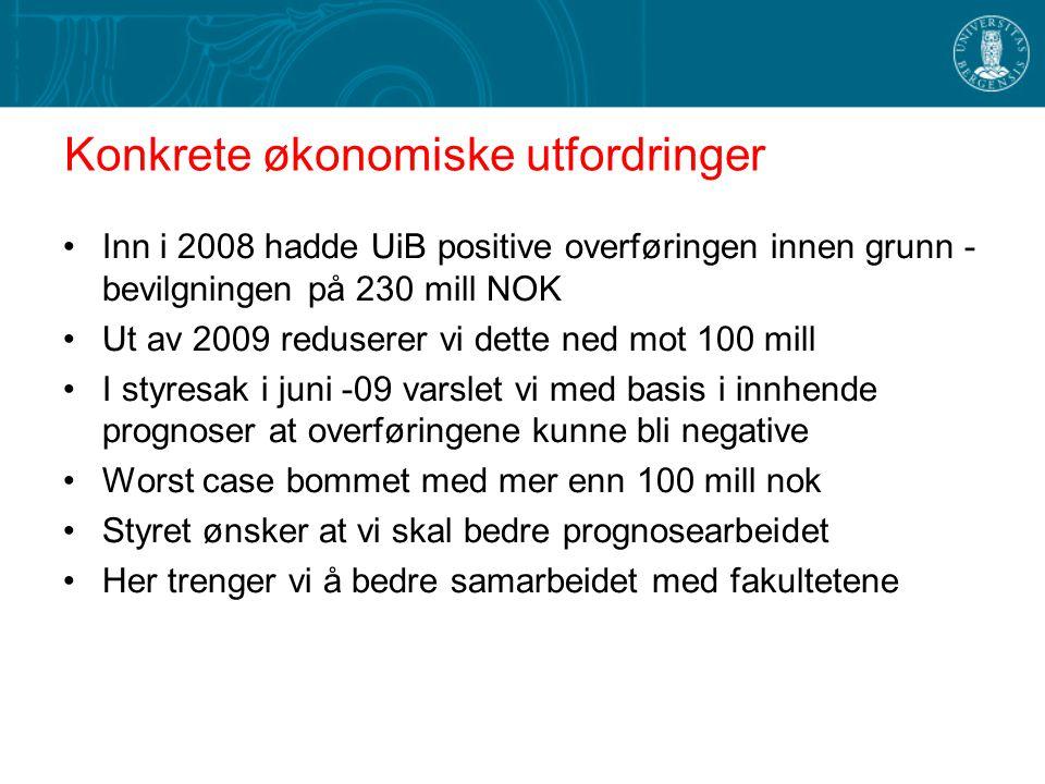 Konkrete økonomiske utfordringer Inn i 2008 hadde UiB positive overføringen innen grunn - bevilgningen på 230 mill NOK Ut av 2009 reduserer vi dette n