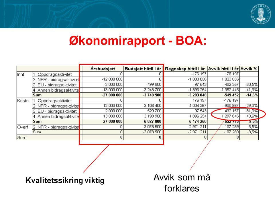 Økonomirapport - BOA: Avvik som må forklares Kvalitetssikring viktig