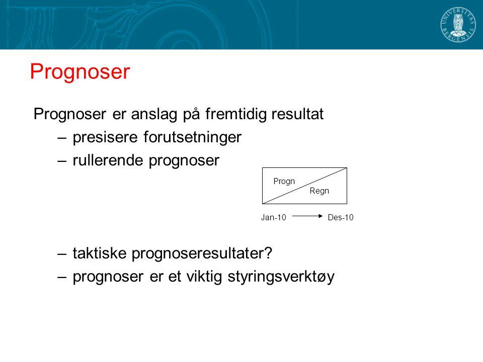 Prognoser er anslag på fremtidig resultat –presisere forutsetninger –rullerende prognoser –taktiske prognoseresultater.