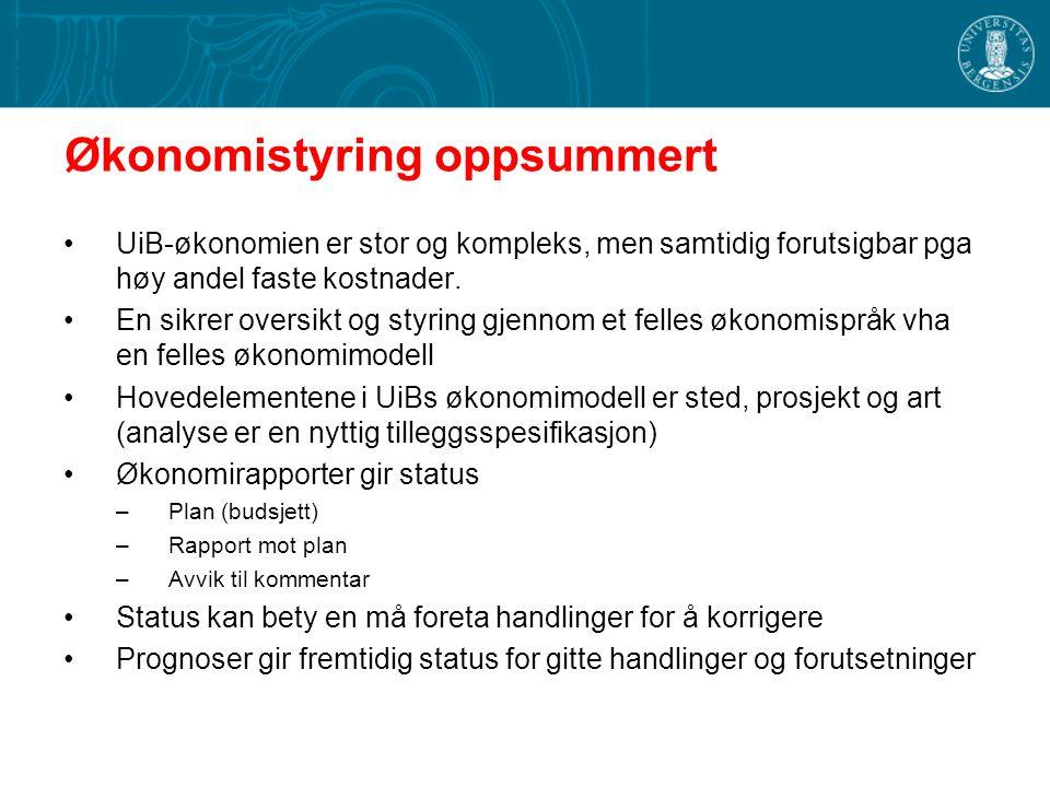 Økonomistyring oppsummert UiB-økonomien er stor og kompleks, men samtidig forutsigbar pga høy andel faste kostnader. En sikrer oversikt og styring gje
