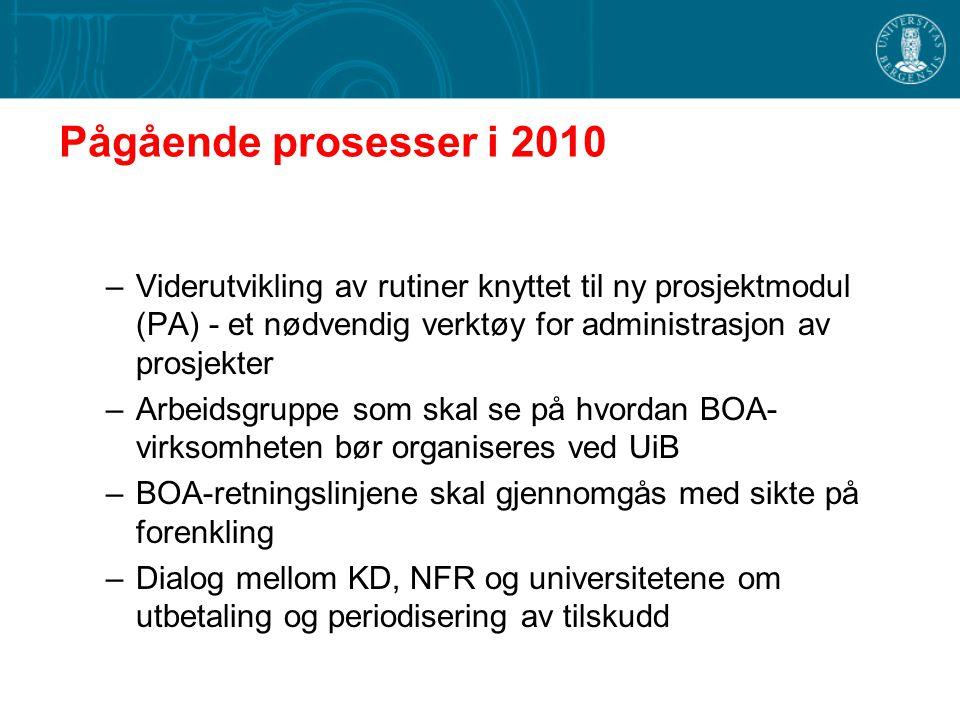 Pågående prosesser i 2010 –Viderutvikling av rutiner knyttet til ny prosjektmodul (PA) - et nødvendig verktøy for administrasjon av prosjekter –Arbeidsgruppe som skal se på hvordan BOA- virksomheten bør organiseres ved UiB –BOA-retningslinjene skal gjennomgås med sikte på forenkling –Dialog mellom KD, NFR og universitetene om utbetaling og periodisering av tilskudd