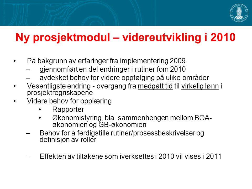 Ny prosjektmodul – videreutvikling i 2010 På bakgrunn av erfaringer fra implementering 2009 –gjennomført en del endringer i rutiner fom 2010 –avdekket