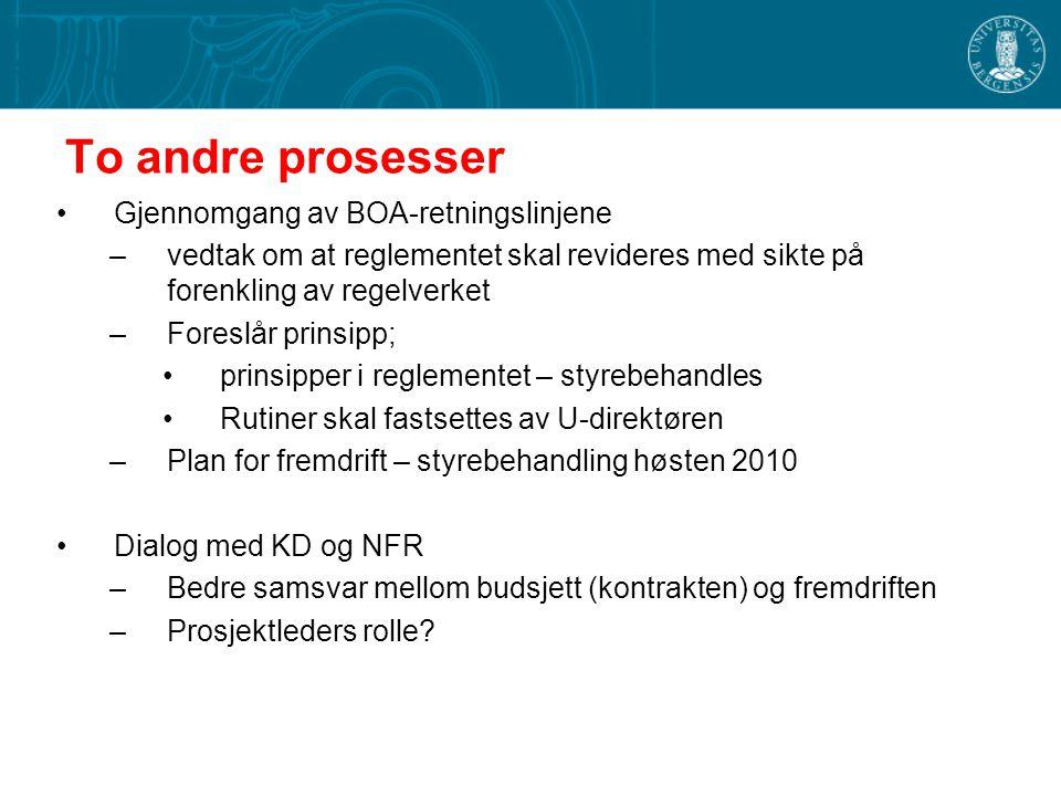To andre prosesser Gjennomgang av BOA-retningslinjene –vedtak om at reglementet skal revideres med sikte på forenkling av regelverket –Foreslår prinsipp; prinsipper i reglementet – styrebehandles Rutiner skal fastsettes av U-direktøren –Plan for fremdrift – styrebehandling høsten 2010 Dialog med KD og NFR –Bedre samsvar mellom budsjett (kontrakten) og fremdriften –Prosjektleders rolle?
