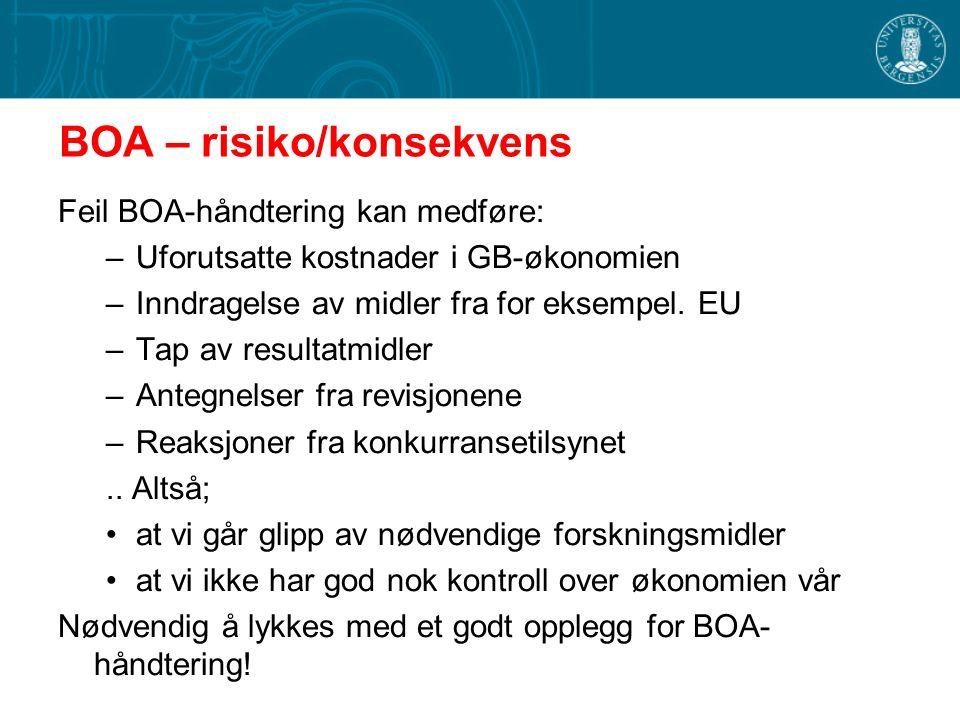 BOA – risiko/konsekvens Feil BOA-håndtering kan medføre: –Uforutsatte kostnader i GB-økonomien –Inndragelse av midler fra for eksempel. EU –Tap av res