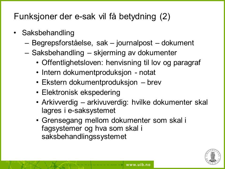 Funksjoner der e-sak vil få betydning (2) Saksbehandling –Begrepsforståelse, sak – journalpost – dokument –Saksbehandling – skjerming av dokumenter Of
