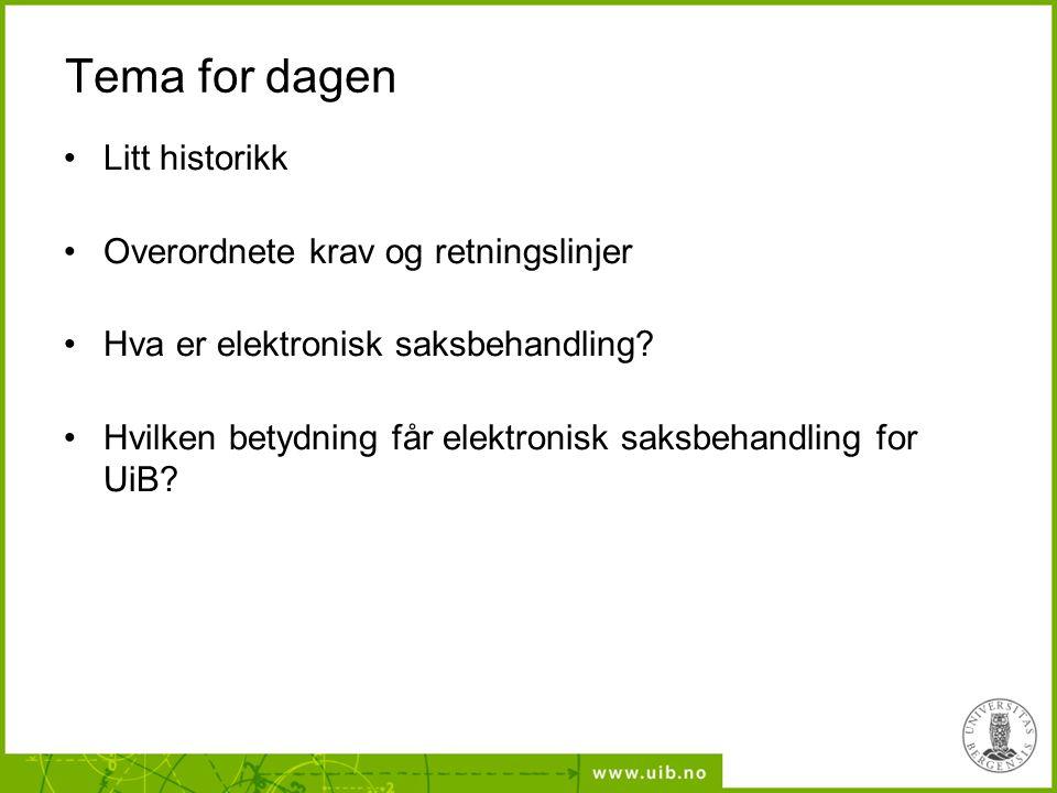 Tema for dagen Litt historikk Overordnete krav og retningslinjer Hva er elektronisk saksbehandling? Hvilken betydning får elektronisk saksbehandling f
