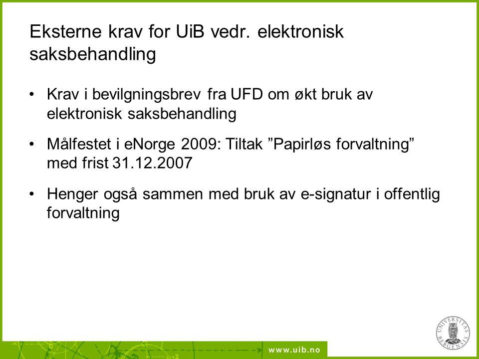 Eksterne krav for UiB vedr. elektronisk saksbehandling Krav i bevilgningsbrev fra UFD om økt bruk av elektronisk saksbehandling Målfestet i eNorge 200