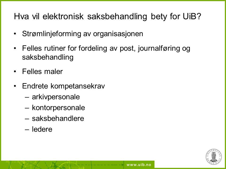 Hva vil elektronisk saksbehandling bety for UiB.