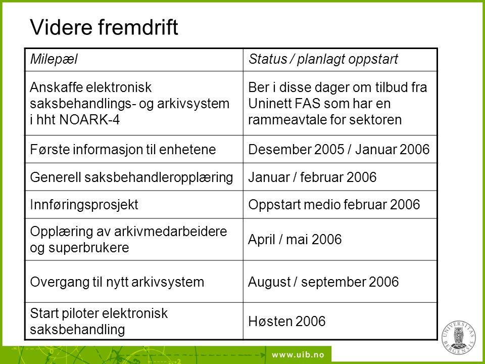 Videre fremdrift MilepælStatus / planlagt oppstart Anskaffe elektronisk saksbehandlings- og arkivsystem i hht NOARK-4 Ber i disse dager om tilbud fra Uninett FAS som har en rammeavtale for sektoren Første informasjon til enheteneDesember 2005 / Januar 2006 Generell saksbehandleropplæringJanuar / februar 2006 InnføringsprosjektOppstart medio februar 2006 Opplæring av arkivmedarbeidere og superbrukere April / mai 2006 Overgang til nytt arkivsystemAugust / september 2006 Start piloter elektronisk saksbehandling Høsten 2006