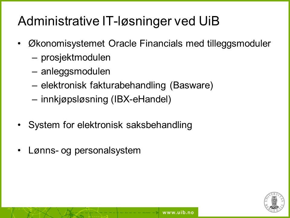 Administrative IT-løsninger ved UiB Økonomisystemet Oracle Financials med tilleggsmoduler –prosjektmodulen –anleggsmodulen –elektronisk fakturabehandling (Basware) –innkjøpsløsning (IBX-eHandel) System for elektronisk saksbehandling Lønns- og personalsystem