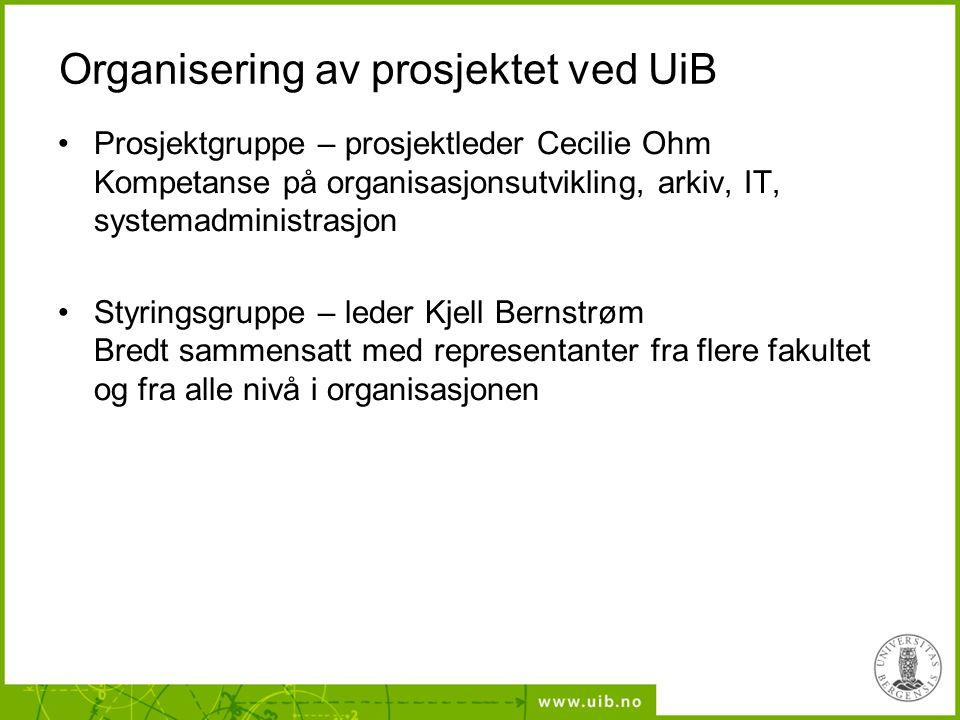 Organisering av prosjektet ved UiB Prosjektgruppe – prosjektleder Cecilie Ohm Kompetanse på organisasjonsutvikling, arkiv, IT, systemadministrasjon St