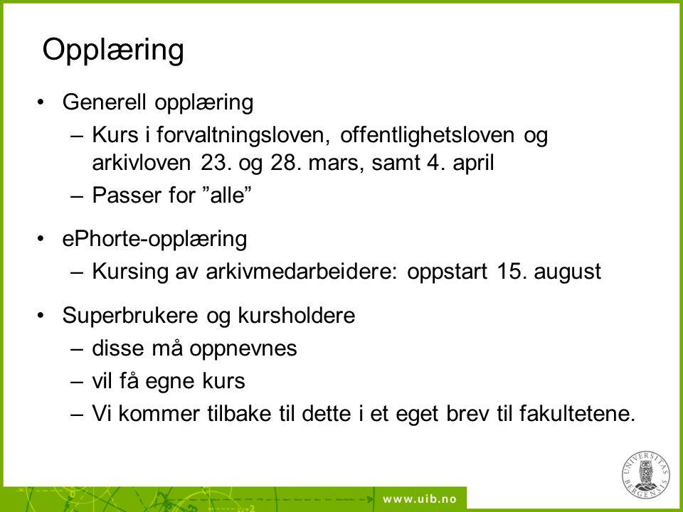 Opplæring Generell opplæring –Kurs i forvaltningsloven, offentlighetsloven og arkivloven 23.