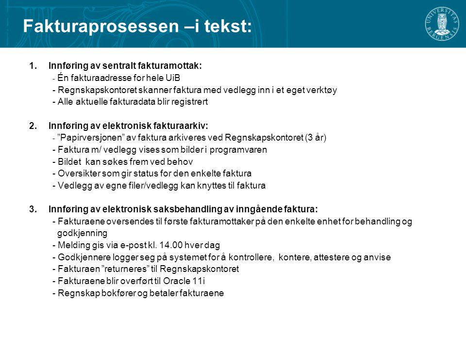 Fakturaprosessen –i tekst: 1.Innføring av sentralt fakturamottak: - Én fakturaadresse for hele UiB - Regnskapskontoret skanner faktura med vedlegg inn