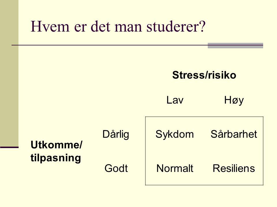 Hvem er det man studerer? Stress/risiko LavHøy Utkomme/ tilpasning DårligSykdomSårbarhet GodtNormaltResiliens