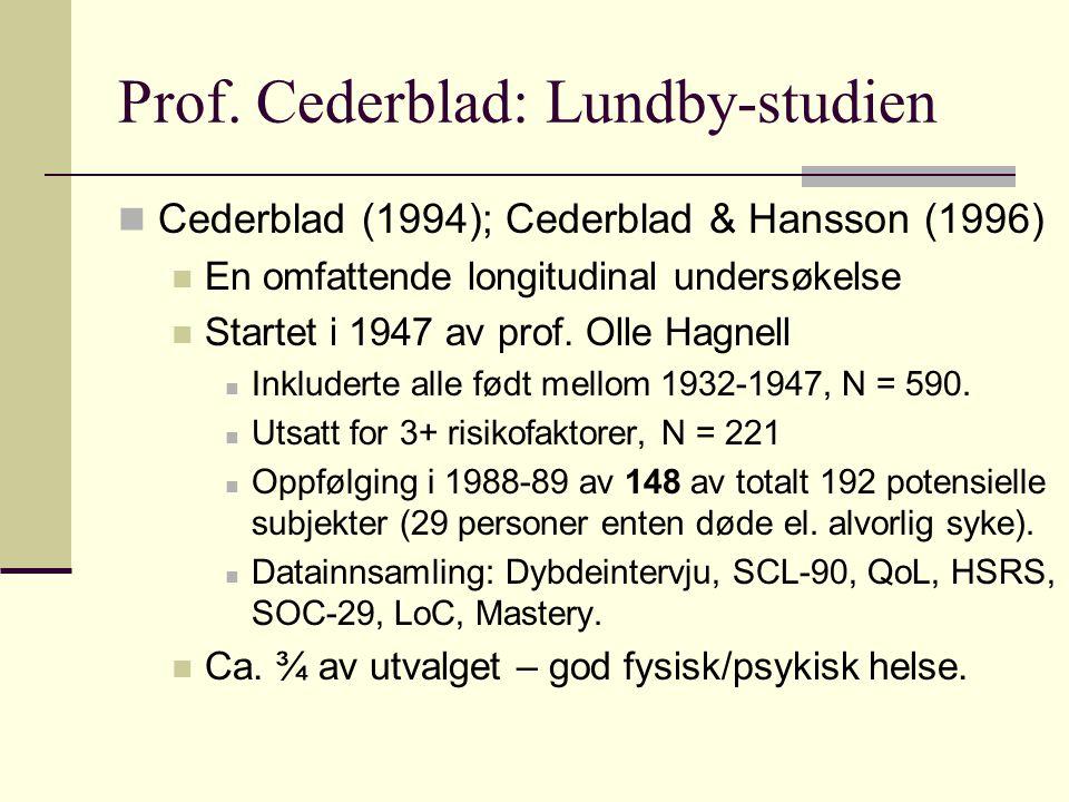 Prof. Cederblad: Lundby-studien Cederblad (1994); Cederblad & Hansson (1996) En omfattende longitudinal undersøkelse Startet i 1947 av prof. Olle Hagn
