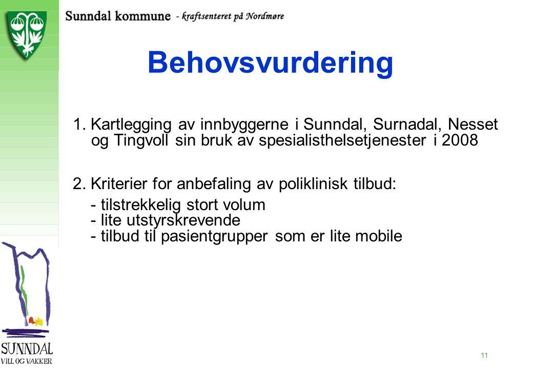 11 Behovsvurdering 1. Kartlegging av innbyggerne i Sunndal, Surnadal, Nesset og Tingvoll sin bruk av spesialisthelsetjenester i 2008 2. Kriterier for