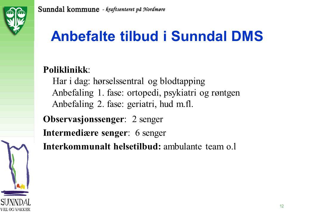 12 Anbefalte tilbud i Sunndal DMS Poliklinikk: Har i dag: hørselssentral og blodtapping Anbefaling 1. fase: ortopedi, psykiatri og røntgen Anbefaling