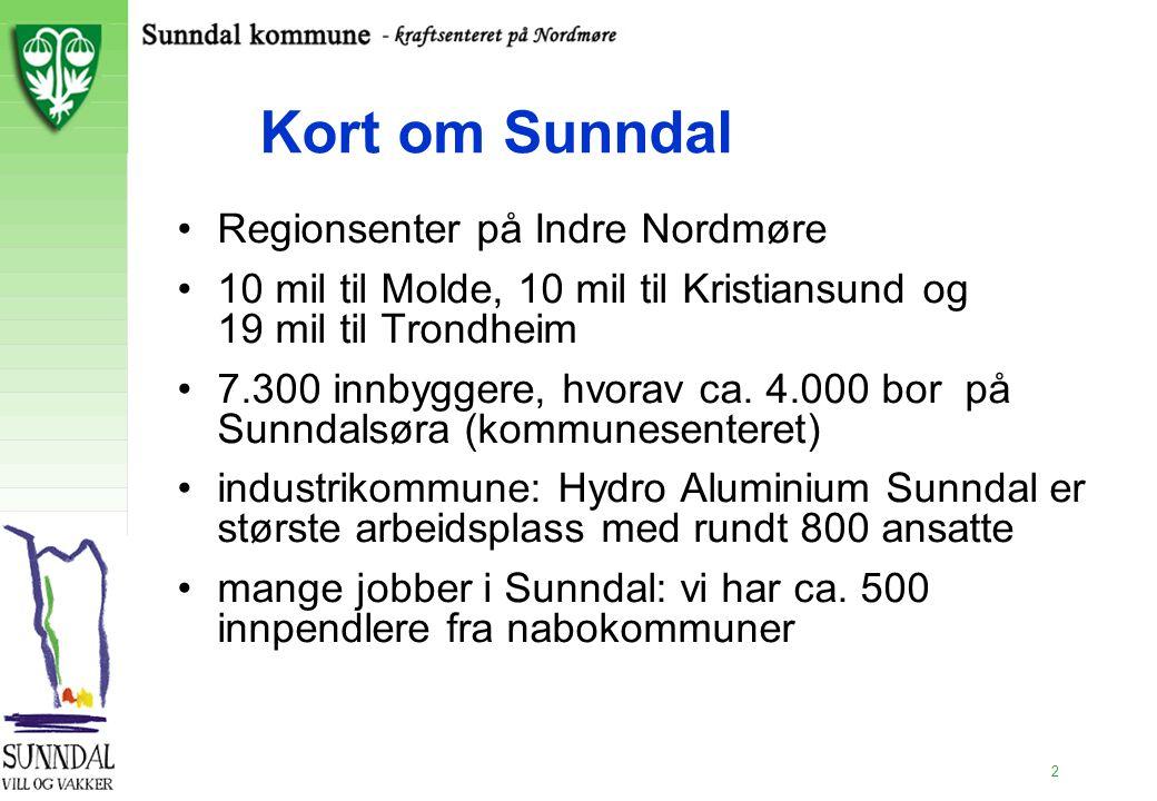 2 Kort om Sunndal Regionsenter på Indre Nordmøre 10 mil til Molde, 10 mil til Kristiansund og 19 mil til Trondheim 7.300 innbyggere, hvorav ca. 4.000